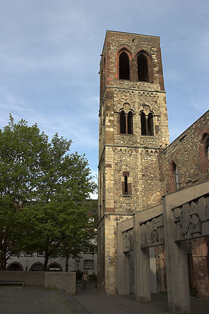 Bombing of Mainz in World War II - War memorial and symbol of the destroyed city: The ruins of St. Christoph's Church, Mainz