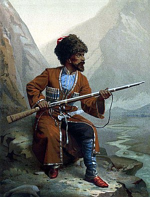 Circassian genocide - Circassian warrior during the Russo-Circassian War