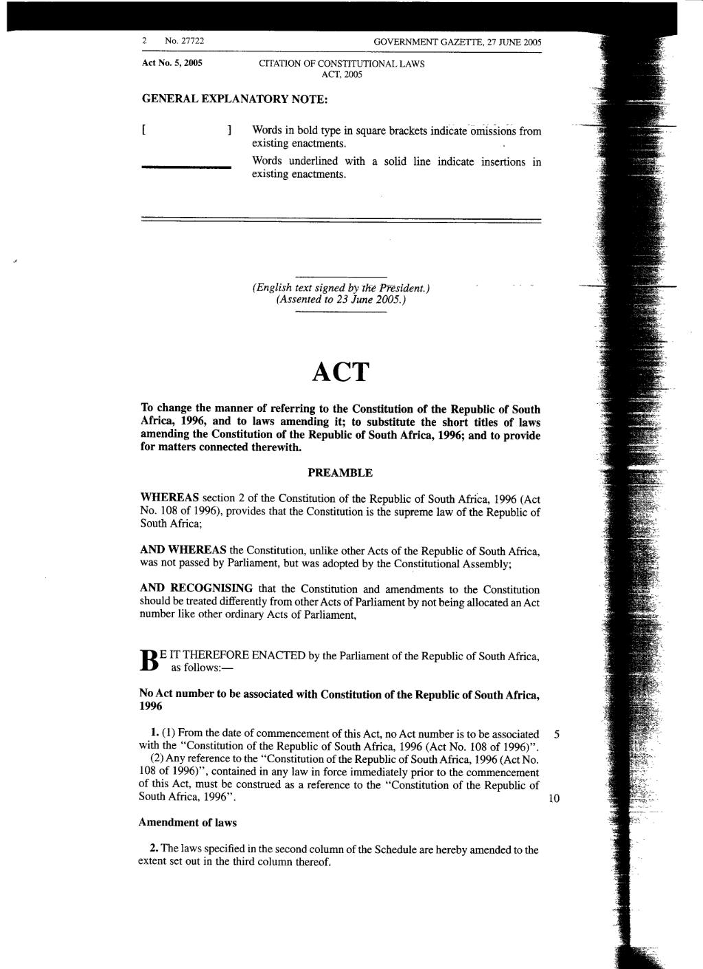 Page Citation Of Constitutional Laws Act 2005 From Government