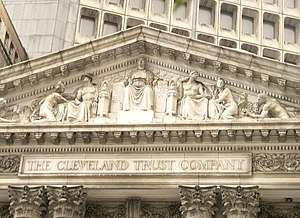 Cleveland Trust Company Building - Finance, the building's main entrance tympanum sculpture by Karl Bitter.