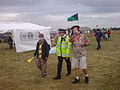 Climate Camp Heathrow - police with clown escort.JPG