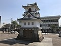 Clock tower in front of Hitoyoshi Station.jpg