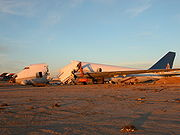 While later versions are still in production, earlier variants have been retired. Most, like this Continental Airlines 747-200 at the Mojave Airport, have been cut up for scrap