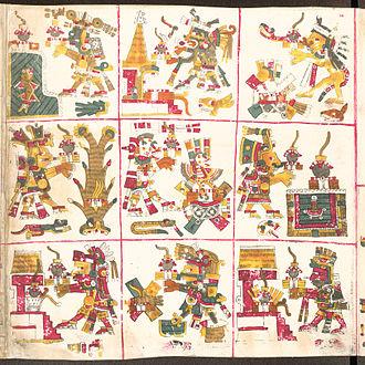 Lords of the Night - Lords of the Night in Codex Borgia (1a) Tlaloc, (1b) Tepeyollotl, (1c) Tlazolteotl, (2a) Centeotl, (2b) Mictlantecuhtli, (2c) Chalchiuhtlicue, (3a) Piltzintecuhtli, (3b) Tezcatlipoca, (3c) Xiuhtecuhtli. The actual reading order of the panels is boustrophedon and begins in the bottom right: 3c, 3b, 3a, 2a, 2b, 2c, 1c, 1b, 1a.