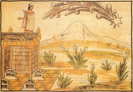 A comet seen by Moctezuma, interpreted as a sign of impending peril. Diego Duran's account from indigenous informants. Codex Duran, page 1.jpg