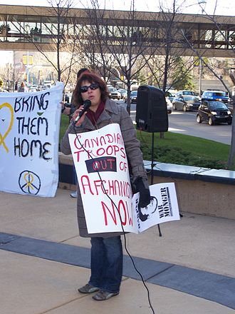 Canadian Peace Alliance - Collette Lemieux, co-chair of the Canadian Peace Alliance, speaking to an anti-war rally in Calgary she helped organize in 2007 as part of the Pan-Canadian Day of Action on Canada's military involvement in Afghanistan.