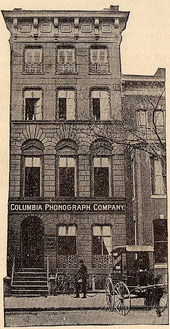 Original home of Columbia in Washington, D.C., in 1889 ColumbiaPhonographBldg1889.jpg