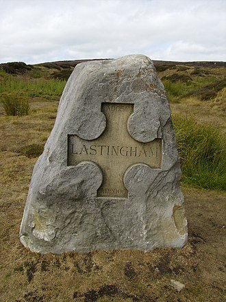 Lastingham - Stone cross at Lastingham, part of the millennium commemorations