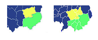 Thurles (Roman Catholic parish) - Comparison of the boundaries of (on the left) the Catholic parishes of Thurles (yellow) and Moycarkey-Borris (green) with those (on the right) of the civil parishes in the area