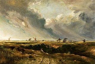 Windmills in landscape.