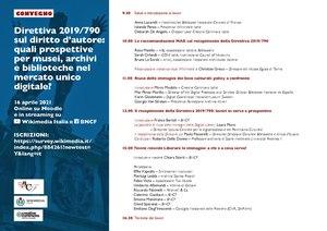 """Convegno """"Direttiva 2019-790 sul diritto d'autore -– Quali prospettive per musei, archivi e biblioteche nel mercato unico globale?.pdf"""