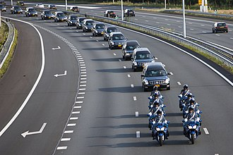 Malaysia Airlines Flight 17 - Convoy of 40 hearses heading to Hilversum, while other traffic stopped