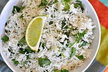 Cooked cilantro lime dish basmati rice India.jpg