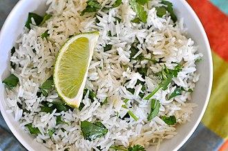 Basmati - Indian white basmati rice cooked.