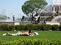 Couple Sunning at Buckingham Fountain.jpg