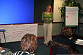 Courtney Johnson, a youth coordinator from McConnell Air Force Base, Kan., gives a presentation during advanced leadership training at Headquarters Air Mobility Command (AMC) at Scott Air Force Base (AFB) 111208-F-OK556-264.jpg
