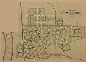 Covington, Indiana - Map of Covington from 1876 atlas