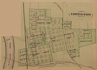Covington, Indiana - Map of Covington from 1876 atlas