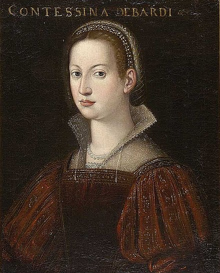 A 16th-century portrait of Contessina de' Bardi, Cosimo's wife, attributed to Cristofano dell'Altissimo. Cristofano dell'Altissimo (attr.), Contessina de' Bardi.jpg