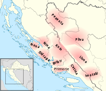 Map of approximate locations of early medieval counties of Croatia