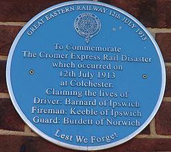 Photo of Cromer Express Rail Disaster blue plaque