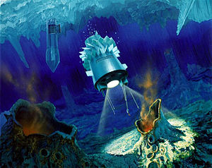 Colonization of Europa - Artist's impression of a hypothetical ocean cryobot in Europa.