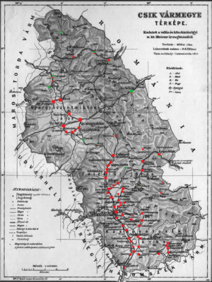 Csík County - Ethnic map of the county with data of the 1910 census (see the key in the description)