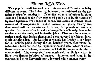Daffy's Elixir - A home recipe for the True Daffy's Elixir, from William Augustus Henderson Modern domestic cookery and useful receipt book, New York, 1829.