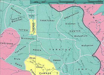 Rozmieszczenie plemion Dakotów przed kolonizacją amerykańską