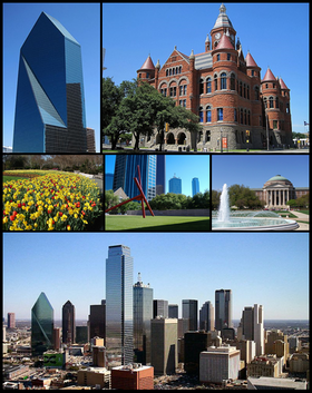 Clockwise from top left: Fountain Place, Dallas County Courthouse, Dallas Hall at Southern Methodist University, Downtown Dallas skyline, Dallas Arboretum and Botanical Garden, and the Dallas Museum of Art in the Dallas Arts District.