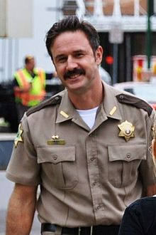 David Arquette Arquette on the set of Scream