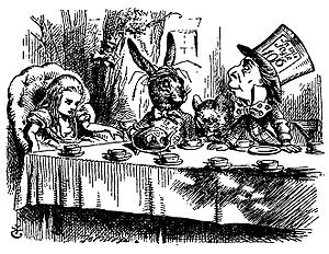 Pound sterling - The Hatter's hat shows an example of the old pre-decimal system: the hat costs half a guinea (10 shillings and 6 pence).