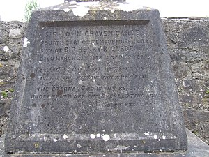 Carden baronets - Image: Dedication on the tombstone of Fouth Baronet of Templemore