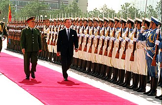 People's Liberation Army at the 1989 Tiananmen Square protests - Chi Haotian, who was the deputy commander of the martial law forces, became the Minister of Defense in 1993.  Pictured here with U.S. Secretary of Defense William Cohen in Beijing in 2000.