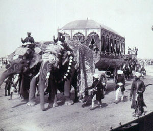 British Raj - Elephant Carriage of the Maharaja of Rewa, Delhi Durbar of 1903.