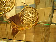 Brain's Alexander single Bb horn, damaged in the crash and restored by Paxman, on display at the Royal Academy of Music.