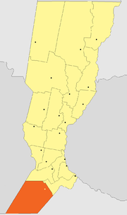 Location of General López Department within Santa Fe Province