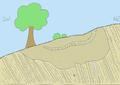 Der Hans Cloos Aufschluss Im unteren Teil befinden sich überkippte Ceratiten-Schichten aus der Trias. Darüber liegt Schluffstein in muldenartiger Form, durchzogen von einer Konglomeratbank..png