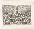 Derde visioen van Ezra de menigte vecht tegen de man uit de zee Visioenen van Ezra (serietitel) Thesaurus sacrarum historiarum veteris testamenti (..) (serietitel), RP-P-1904-3492.jpg