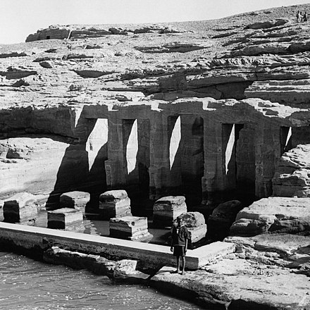 Temple of Derr ruins in 1960 Derr ( 125 miles south of Aswan, right bank). Temple dedicated to Pa - Horakhti.jpg