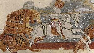 Saint Ladislaus legend - Mural in Dârjiu fortified church: The Saint Ladislaus legend, detail with the cavalier-king saint