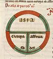 Diagrammatic T-O map - Etymologies (early 13th C), f.99v - BL Add MS 22797.jpg