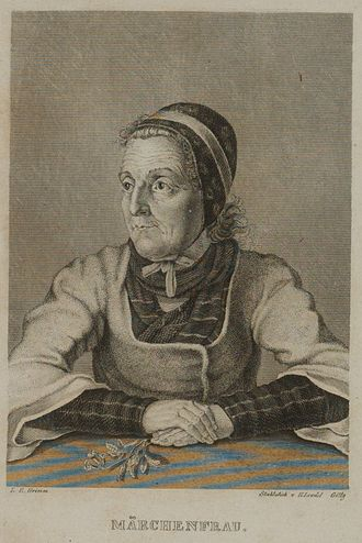 Grimms' Fairy Tales - Frontispiece used for the second volume of the 1840 4th edition. The portrait by Ludwig Emil Grimm bears resemblance to the storyteller Dorothea Viehmann.