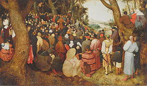 Beeldenstorm - An outdoor sermon (The Preaching of St. John the Baptist) depicted by Pieter Bruegel the Elder, apparently in 1565, the year before the Beeldenstorm movement began.