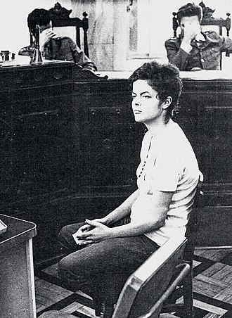 Dilma Rousseff - Rousseff on trial before the military dictatorship judges in 1970. Note they choose to hide their faces from the camera.