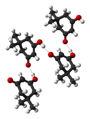 Dimedone - Ball-and-stick model of a hydrogen-bonded dimedone chain, as found in the crystal structure