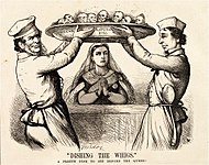 Disraeli and Derby, caricatured as chefs, set a dish before Queen Victoria. On the outside of the dish are the names of Conservative parliamentary bils; within are the faces of Liberal politicians