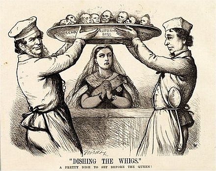 """Dishing the Whigs,"" Fun cartoon. Lord Derby and Benjamin Disraeli ""dish"" their Whig opponents by introducing more liberal reforms than they had contemplated; their heads are presented on a platter to Queen Victoria. Dishing-the-Whigs-1867.jpeg"
