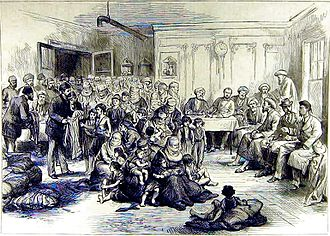 Muhacir - Distribution of clothing to Turkish refugees at Shumla, 1877.