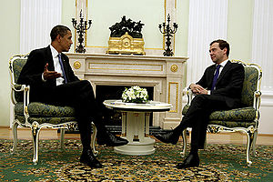 President of Russia - President Dmitry Medvedev with US President Barack Obama in 2009.